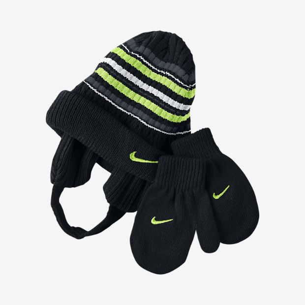 c531bb1421fd3 Nike Striped Toddler Kids  Knit Hat And Mittens Set