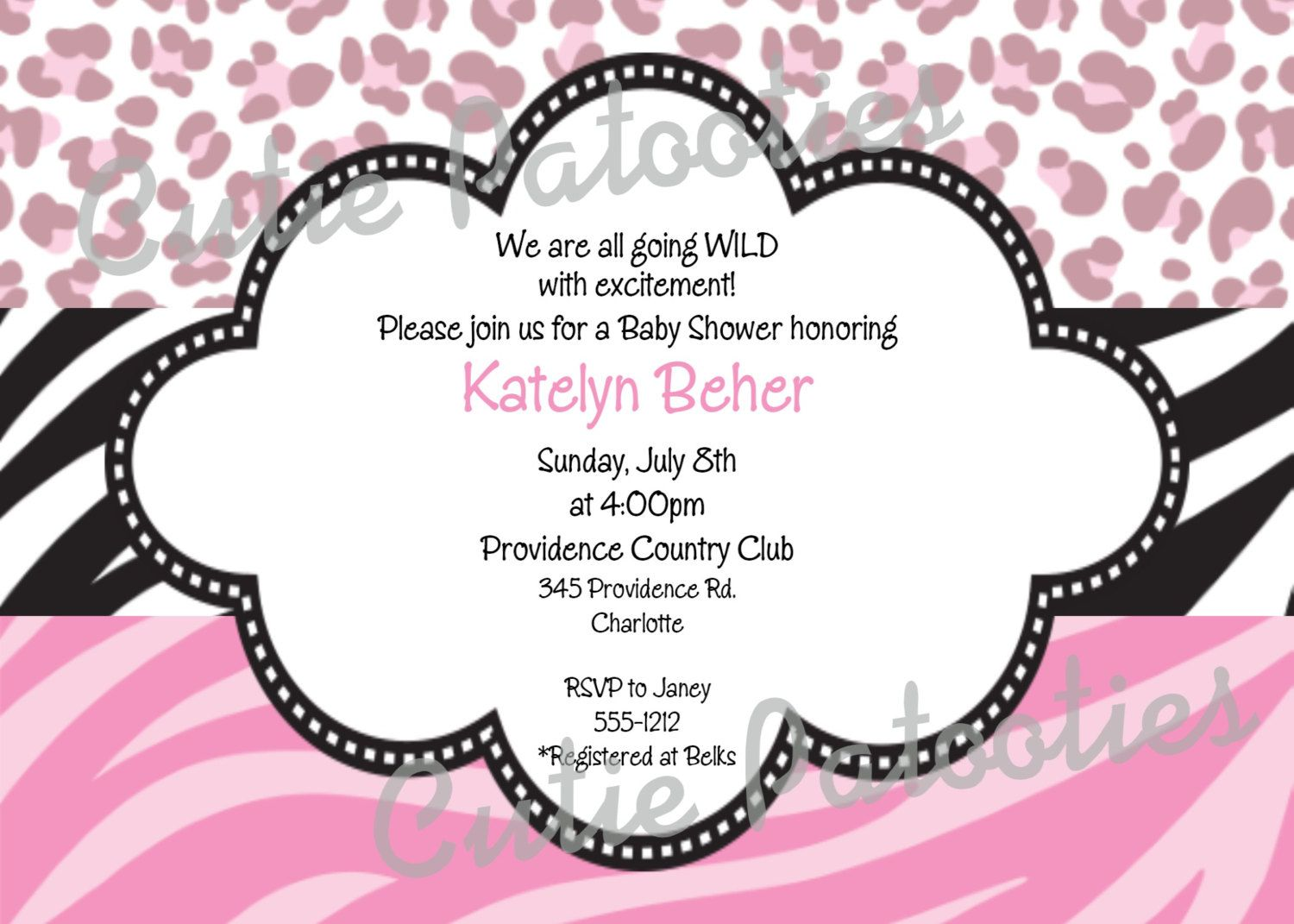 Cheetah Zebra Print Baby Shower Invitation Pink Cheetah Zebra Print ...
