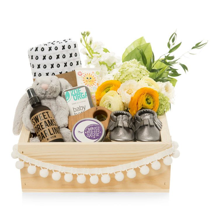 Baby shower gift box curated by eighteen feathers baby