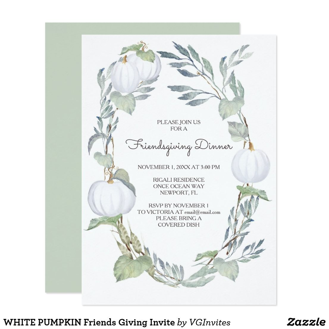 White pumpkin friends giving invite pinterest holiday invitations white pumpkin friends giving invite vg invites white pumpkin and greenery friendsgiving invitation features lush greenery stopboris Images