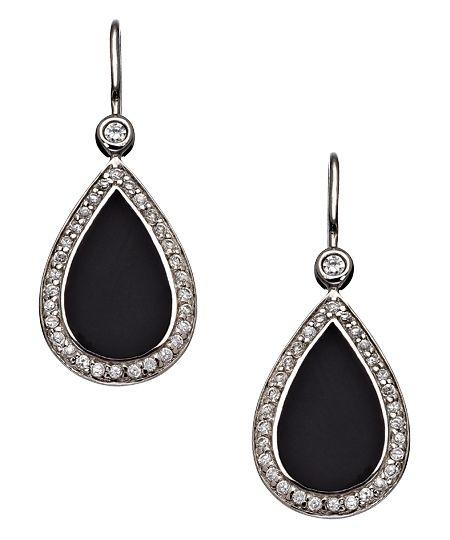 4562cbf3f Black Onyx Crystal Teardrop Earrings | Cubic Zirconia Earrings ...