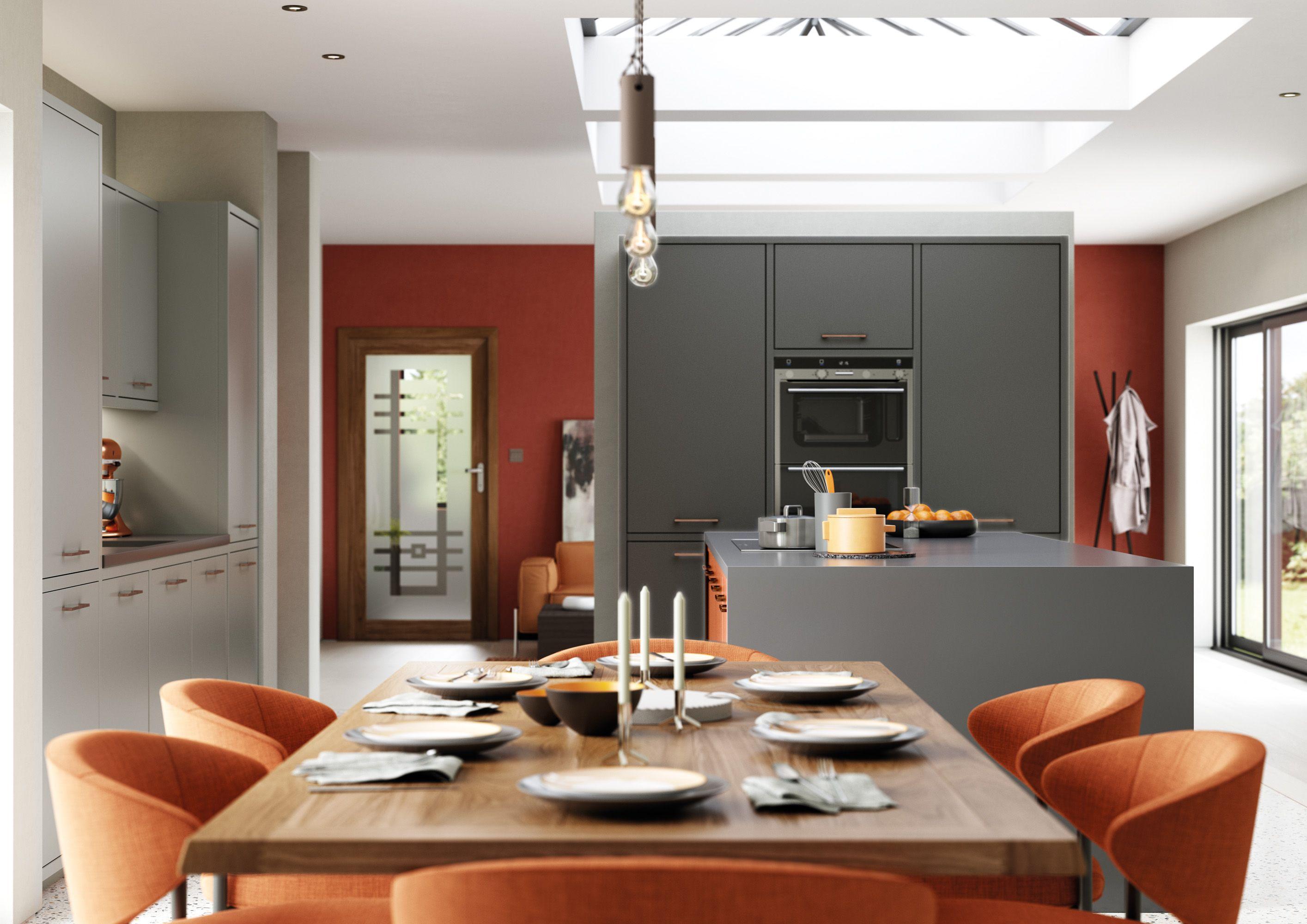 Orange Dust Grey And Graphite Latest Kitchen Designs Kitchen Design Kitchen Fittings