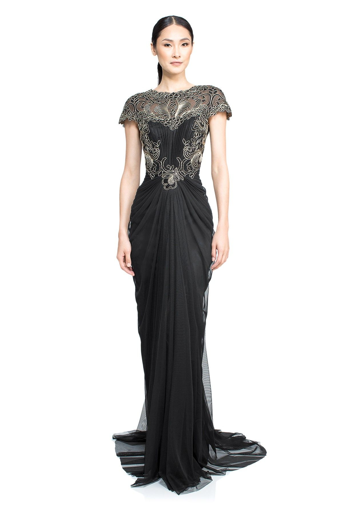 Corded Lace And Draped Tulle Gown Tadashi Shoji Black Tie Wedding Guest Dress Black Wedding Guest Dresses Black Tie Dress Wedding [ 1800 x 1200 Pixel ]