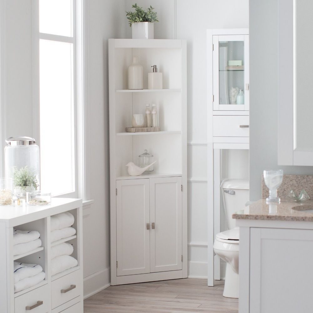 Bathroom linen cabinet tower corner bath storage organizer closet shelf tall belhamliving Bathroom corner cabinet storage
