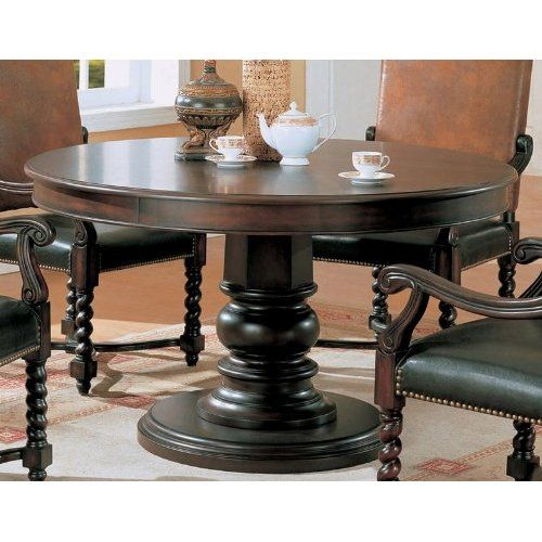Amazon.com: Round Pedestal Wood Brown/Black Dining Table: Visiondecor  Furniture