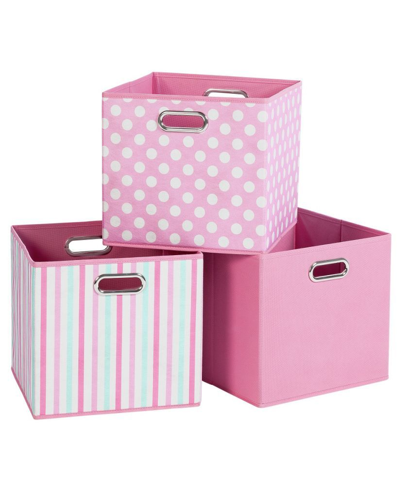 Buy Pink Canvas Storage Boxes 3 Pack At Argoscouk Your Online