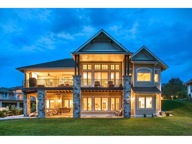 Stunning Rear Exterior View Of Luxury Craftsman Style Home Plan Craftsman House Plans Lake House Plans Craftsman House Plan