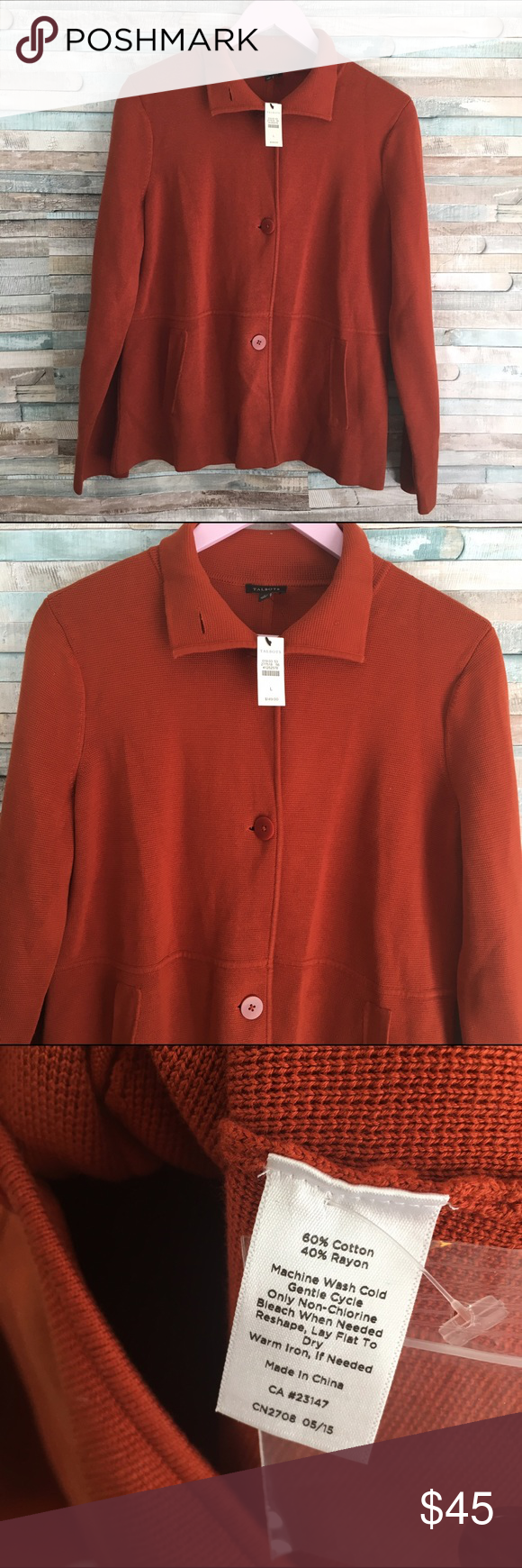 NWT talbots women's cardigan burnt orange L Burnt orange thick ...