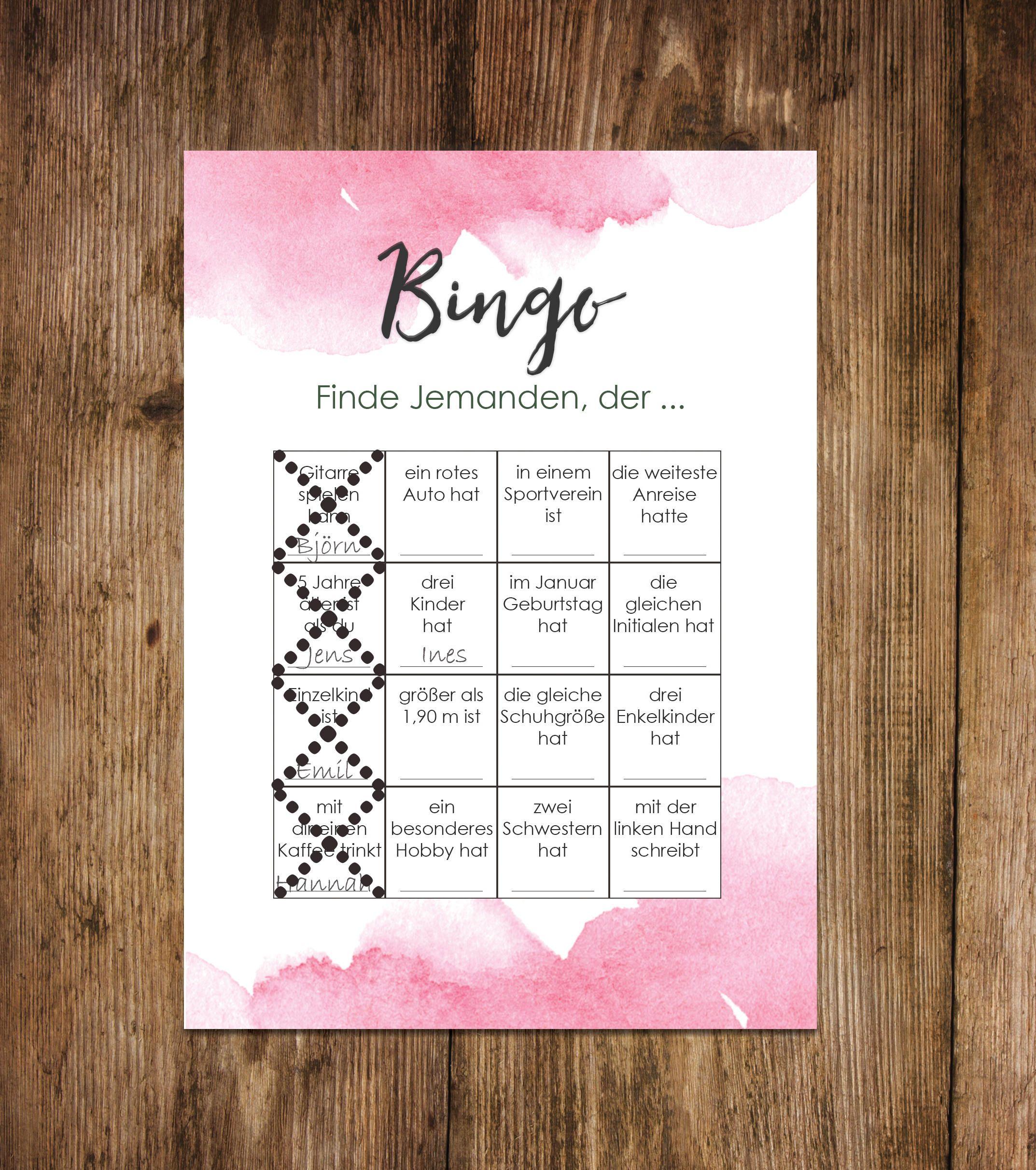 50 Bingokarten Aquarell Hochzeit, Hochzeitsspiele Gäste