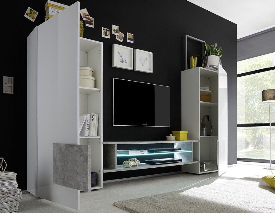 ensemble meuble tv moderne laqu blanc et effet bton trivia - Meuble Tv Living Blanc Laque For You