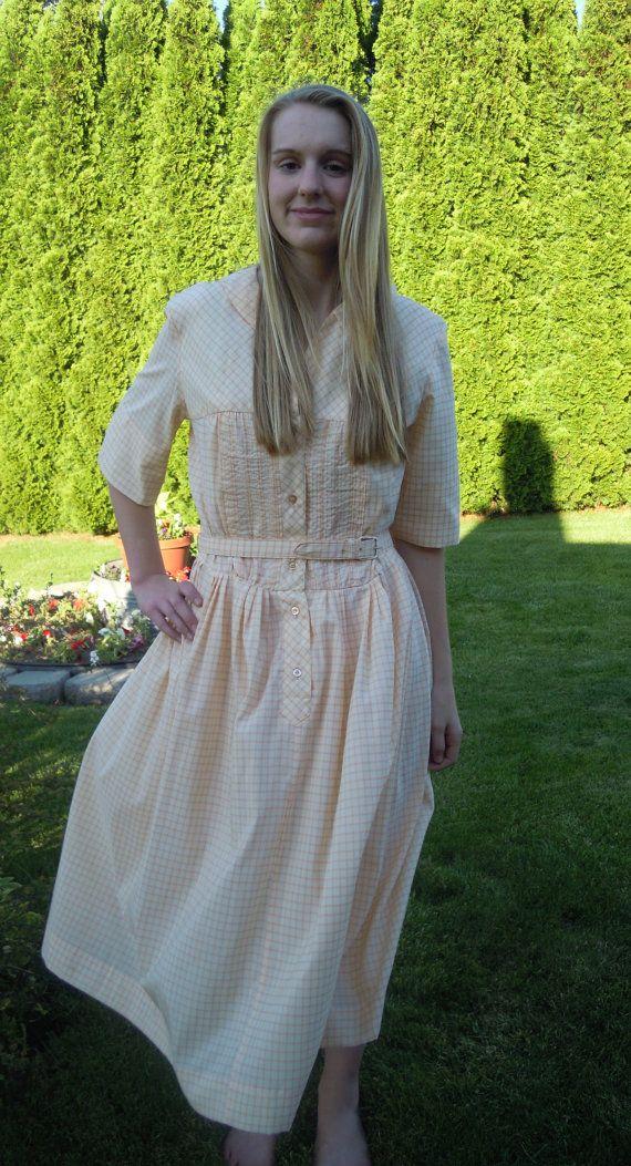 Vintage Orange Dress Carol Brent Day Circle Skirt Plaid Mad Men Mod Size Large Belt