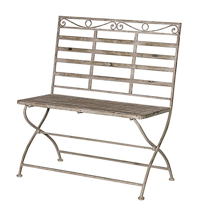 Grey Wash Metal Garden Bench