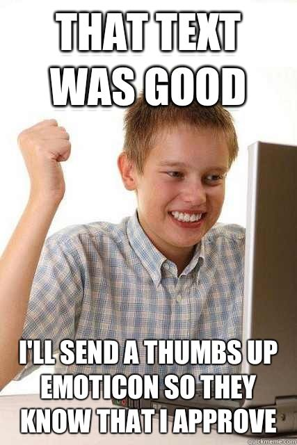 Image result for thumbs up text meme