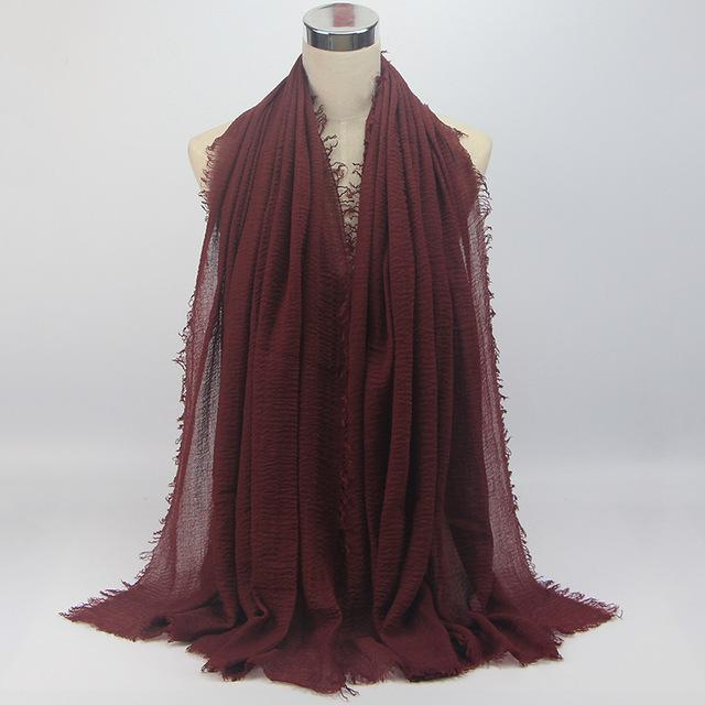 Women Solid Color Cotton Linen Cloud Hijab Scarf Shawl Soft Islam Muslim Crinkle