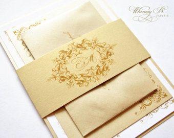 Champagne Wedding Invitations Gold Vintage Wedding Invitation