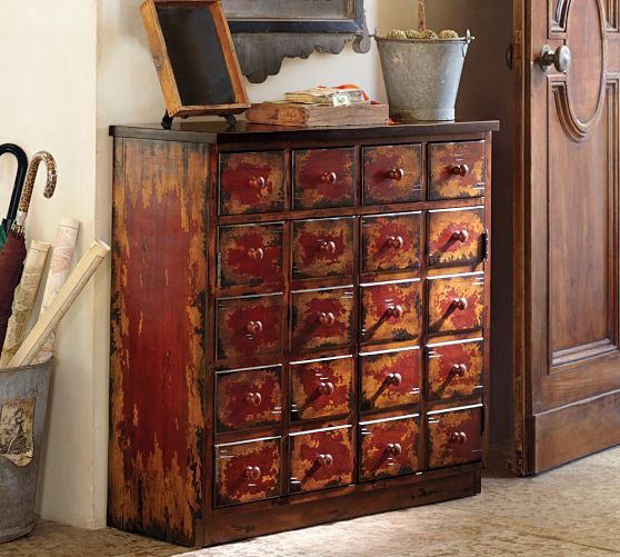 Andover Cabinet Weathered Red Finish Pottery Barn