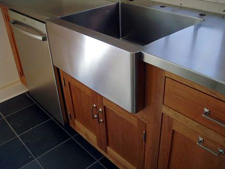 1 2 Brushed Stainless Steel Countertop With Integral Farm Sink Eased Square