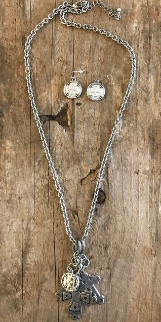 Double Cross Chain Necklace Set