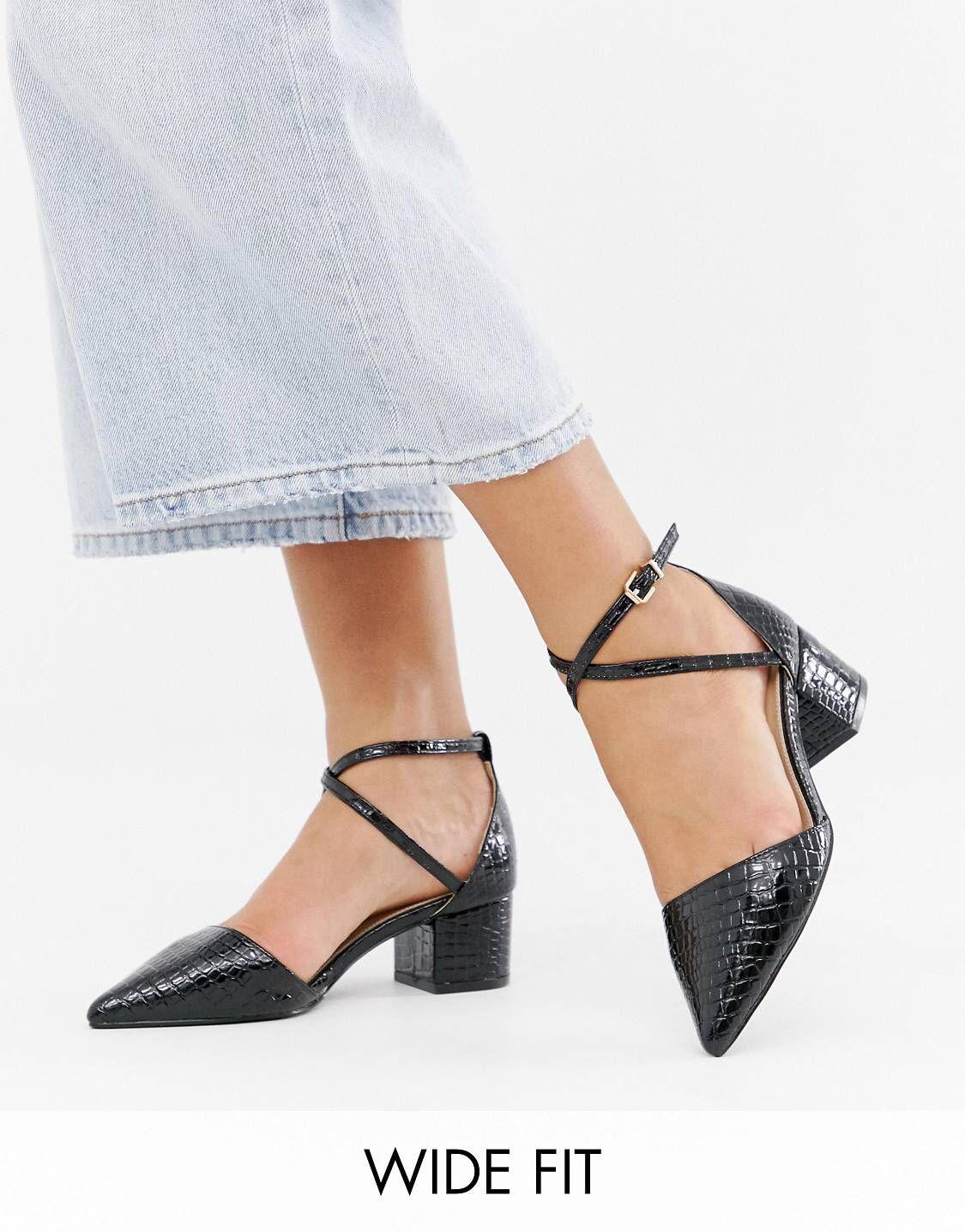 3a4da640006275 RAID Wide Fit Avia black croc mid heeled shoes in 2019