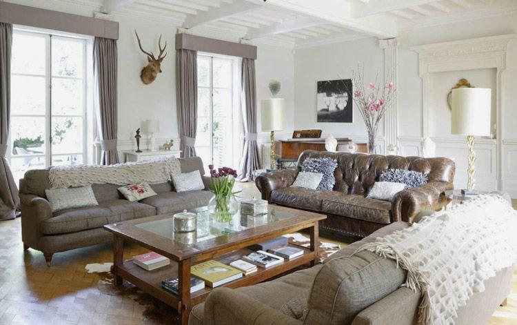 Gray Pelmets Brown Living Room Decor Living Room Decor Country Brown Living Room #nice #living #room #furniture