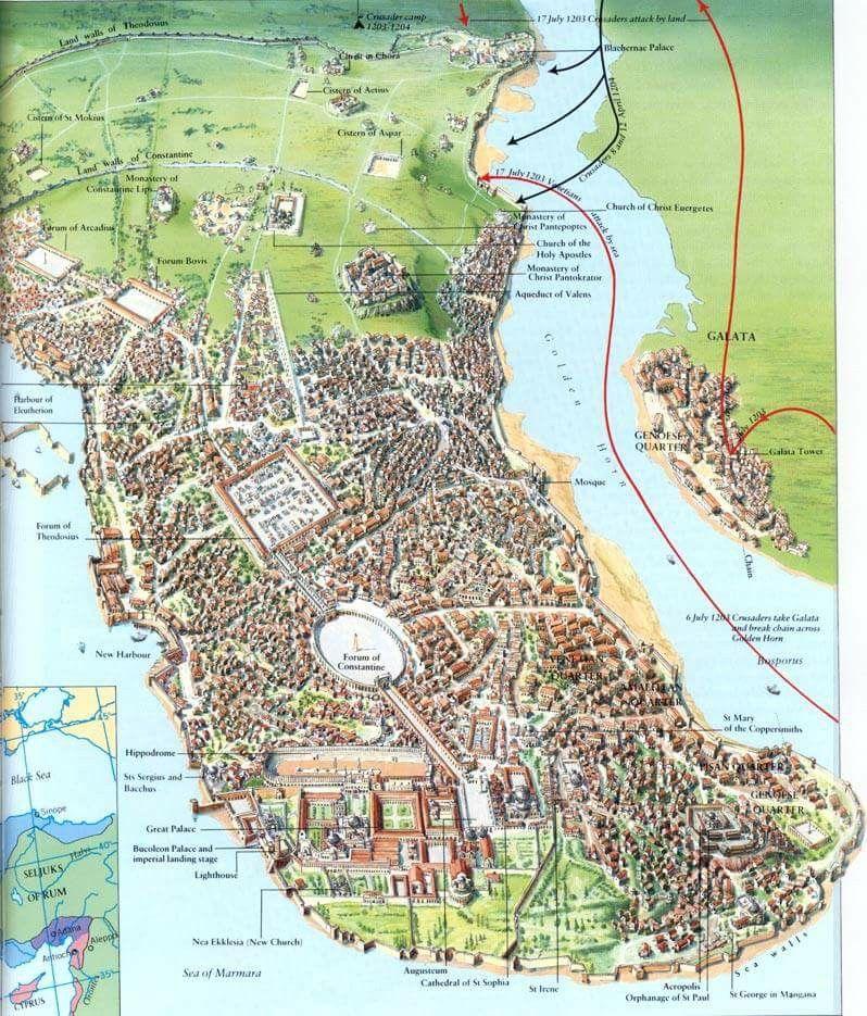 Constantinople map | MEDİEVAL MAPS | Haritalar, Bizans ...