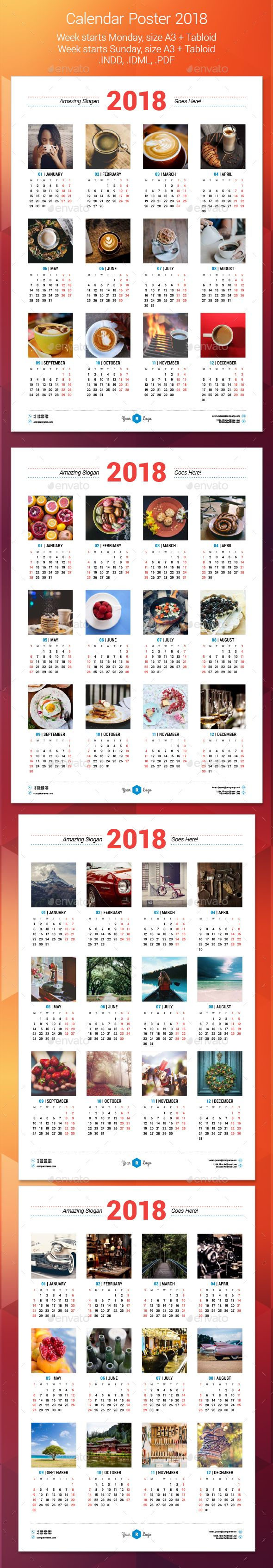 Calendar Poster   Calendar  Indesign Templates And Template
