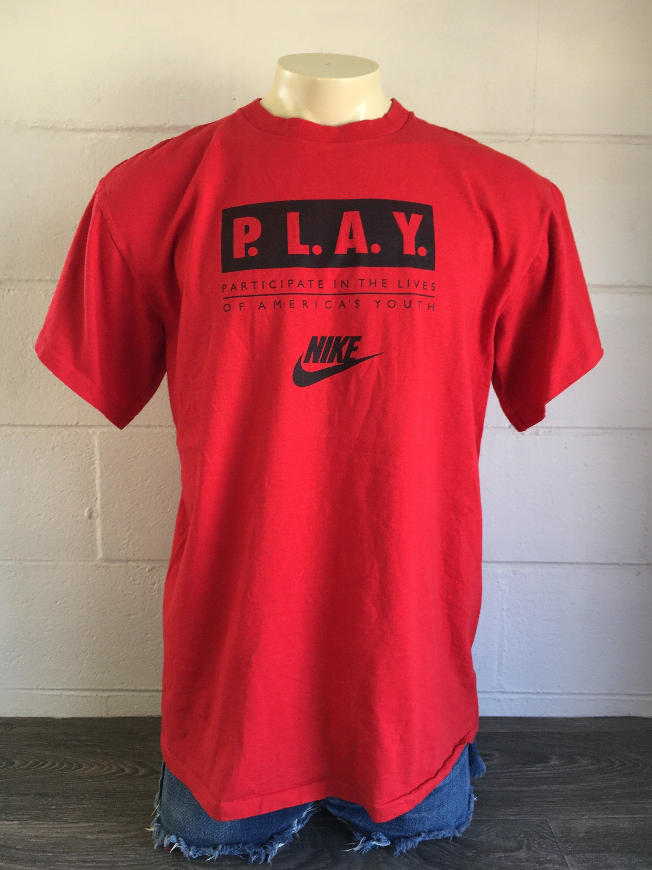 c3c2a2d6f27 Nike Play Tshirt Vintage 90s Grey Tag Will We Ever Learn Swoosh Shirt Made  USA Single Stitch Red Tee XXL by sweetVTGtshirt on Etsy