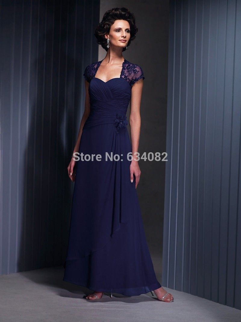 lace cap sleeve ankle length formal dresses
