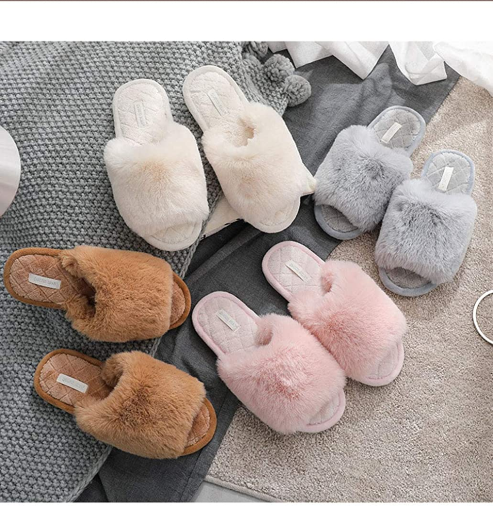 Cute Women Home Slippers Cotton Warm Soft Slip On Indoor Flat Ladies Plush Shoes