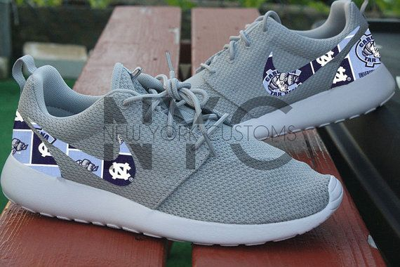 b884ea2c8fe54b Nike Roshe One White UNC Tarheels North Carolina Custom Men   Women