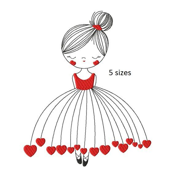 Ballerina machine embroidery design,instant download,children's embroidery