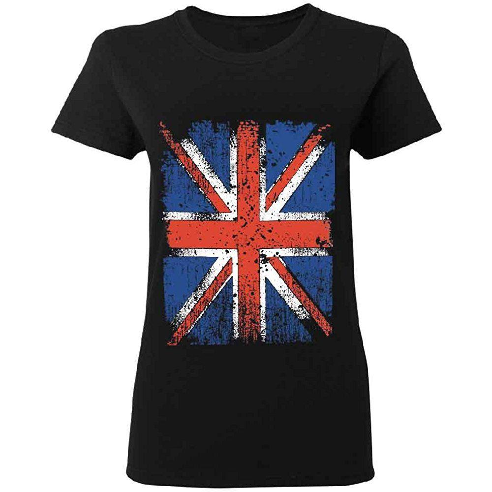 Distressed British Flag Womens T Shirt Vintage Union Jack Uk Flag Tee 1 T Shirts For Women British Flag Uk Flag