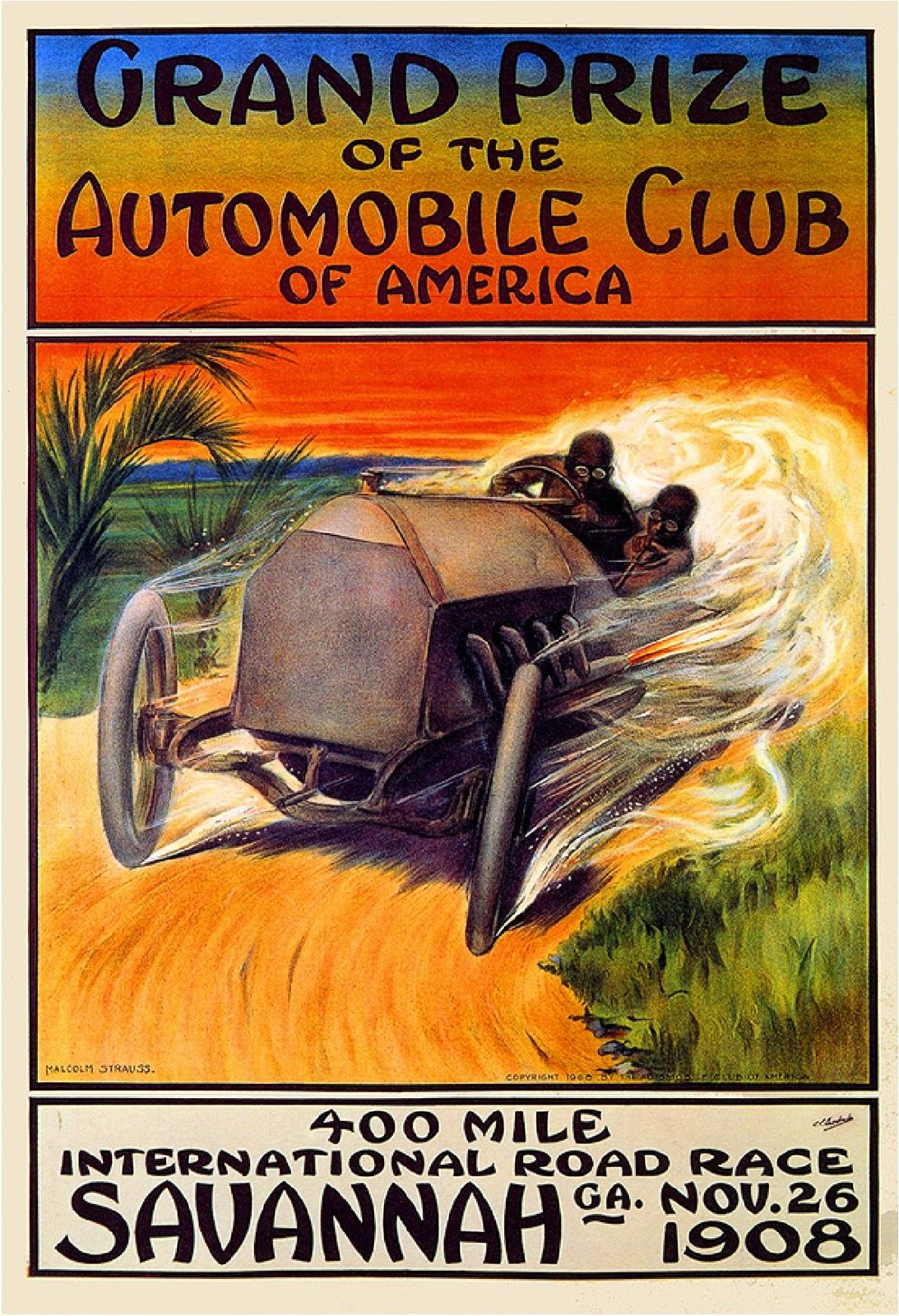 1906 Savannah Georgia Automobile Race United States Travel Advertisement Poster