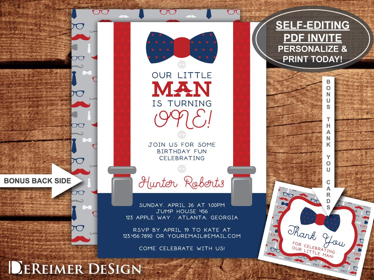 Little Man First Birthday Party Invitation, Bow Tie, Suspenders ...
