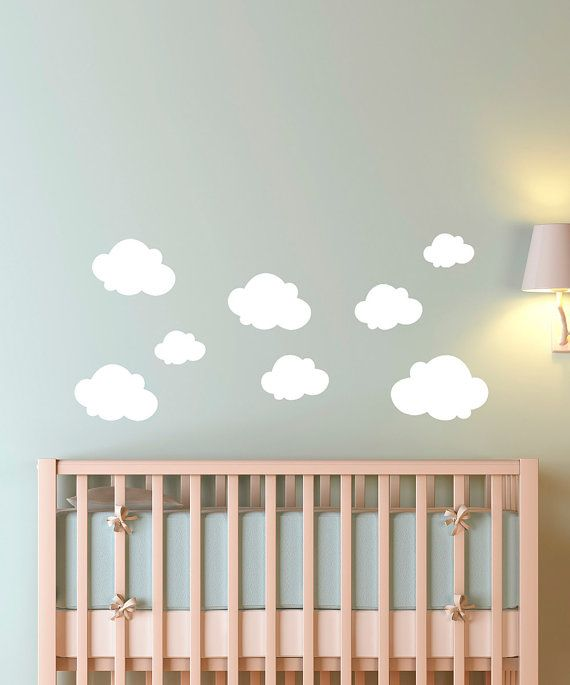 Cloudy Sky Seven Pack - Perfect For Baby Nursery - Boy Bedroom Decal - Children Decor - Playroom Vinyl Wall Stickers