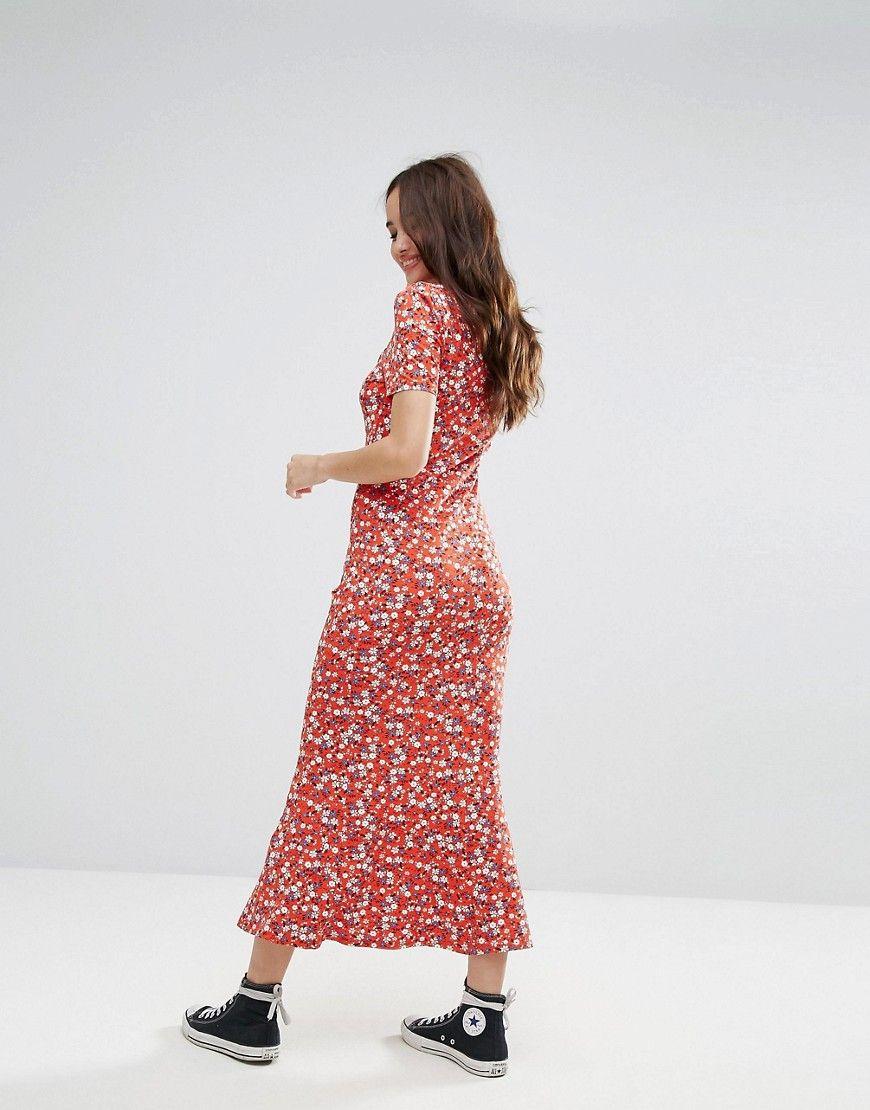 1e55cfb5ed3 ASOS City Maxi Tea Dress In Floral Print - Multi