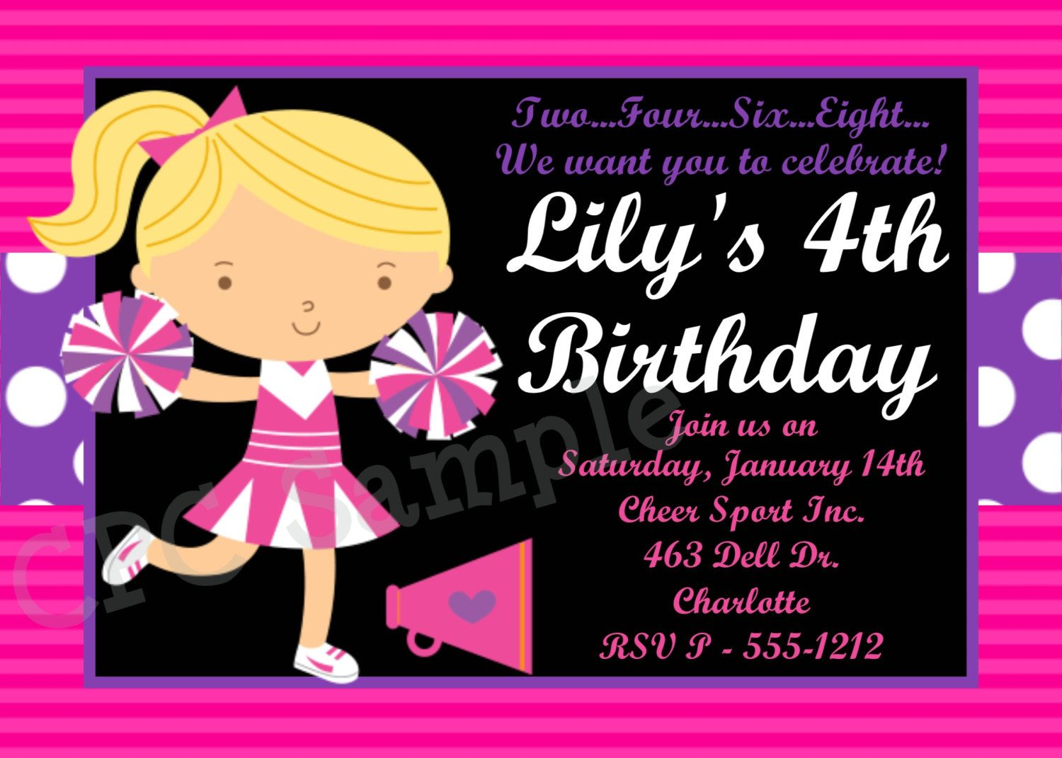 Cheerleading Birthday Invitation Cheerleader Birthday Party