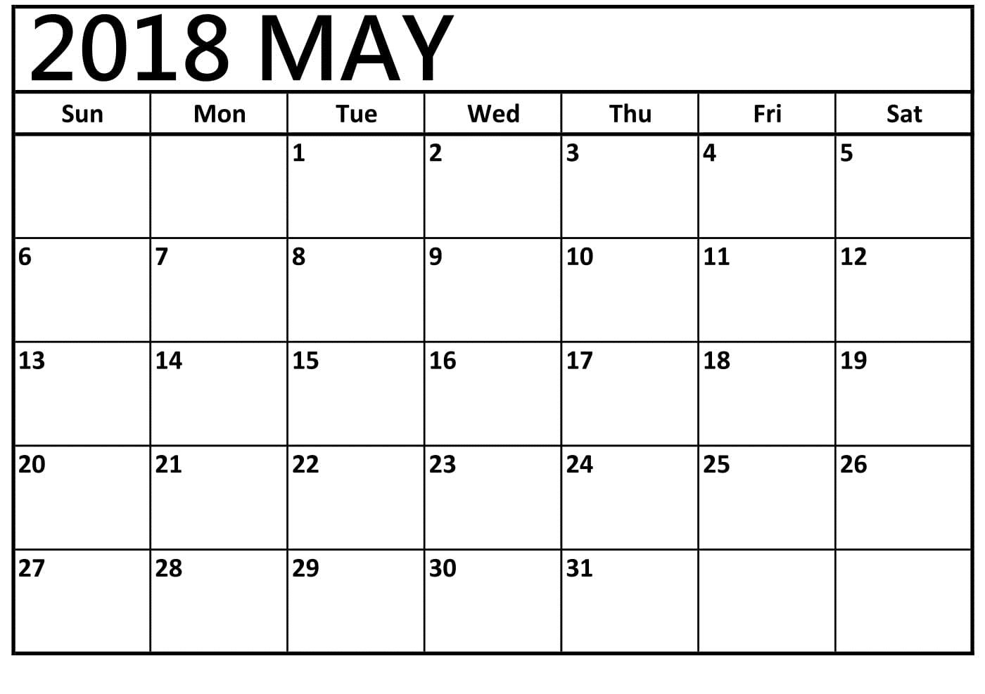blank calendar for may 2018