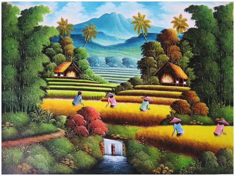 gambar lukisan pemandangan sawah padi Pemandangan