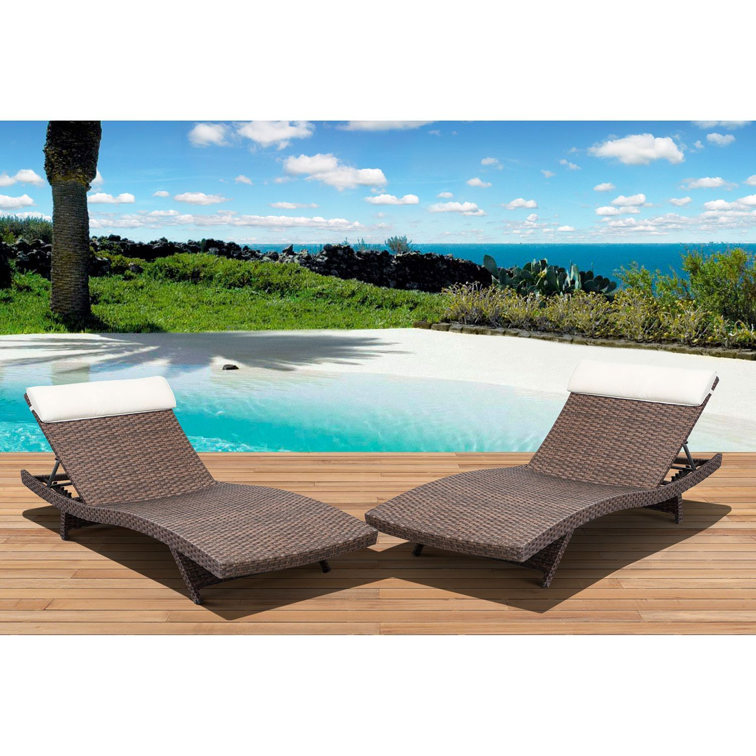 Cavalier Brown Synthetic Wicker Patio Lounge Chair with OffWhite – White Wicker Lounge Chair