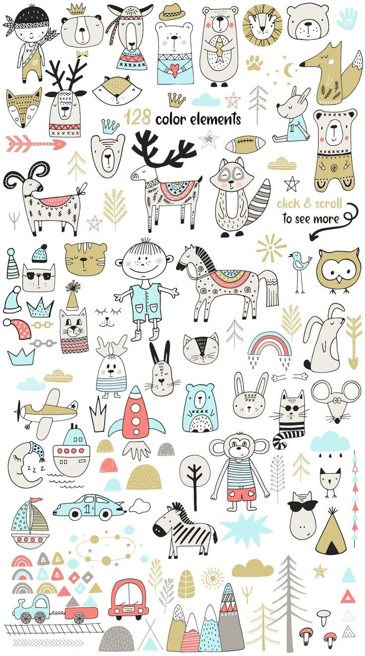 Scandinavian for BOY – Illustrations This nursery collection includes 115 black …