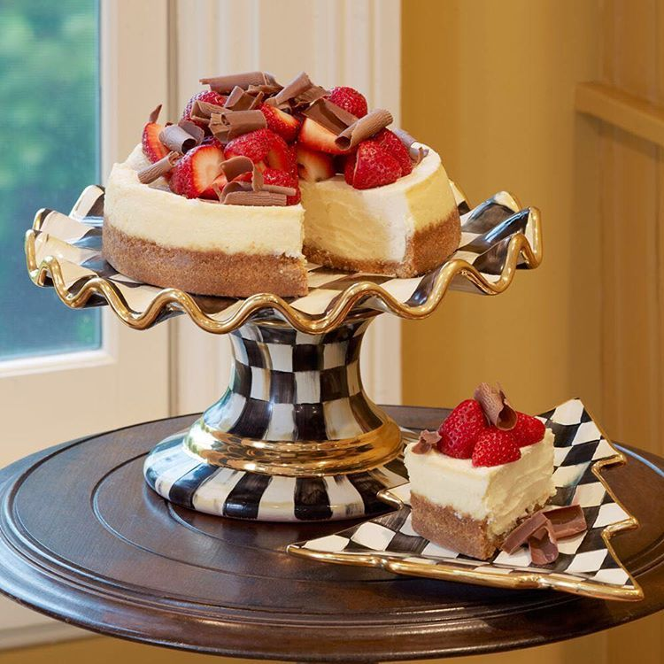 Happy #chocolatecakeday from our kitchen to yours! Today is the perfect day to indulge in a sweet treat on our #courtlycheck Fluted Cake Stand. #mackenziechilds #delicious #sweettooth