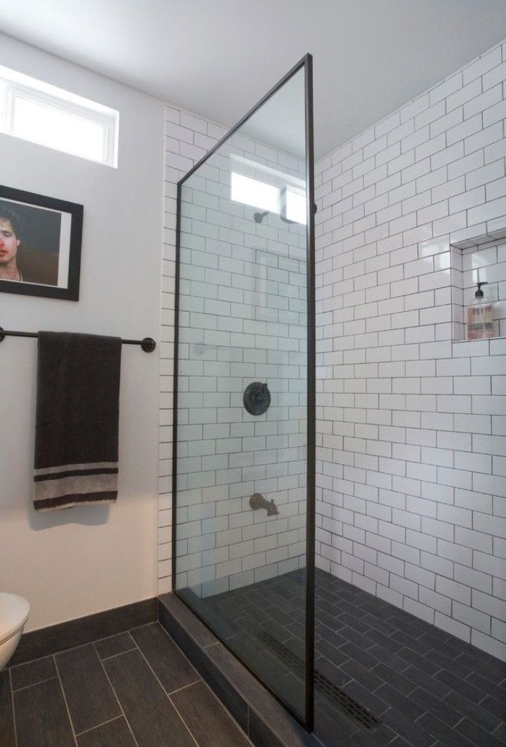 Subway Tile With Glass And Bronze Trim With Dark Tile Floor Bathroom Tile Designs White Subway Tile Bathroom Bathroom Interior