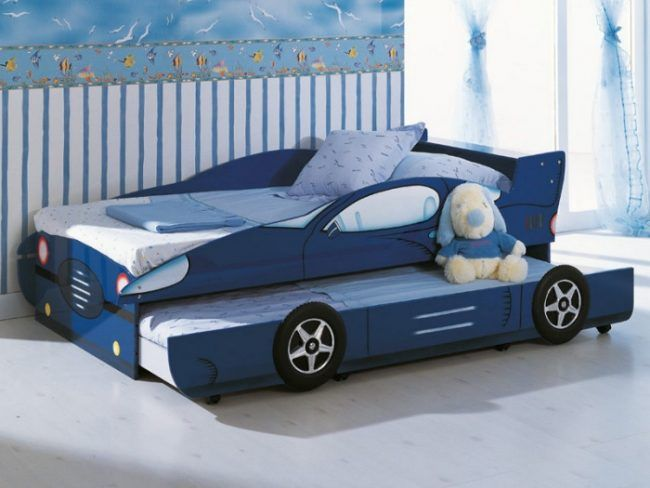 kinderbett ausziehbar jugendbett auto form blau kinderzimmer kojenbett - Luxus Hausrenovierung Fantastische Autobett Ideen Der Modernen Kinderzimmer Design