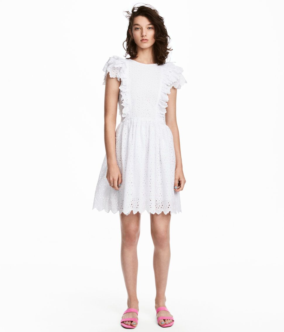 Check this out short dress in woven fabric with eyelet embroidery