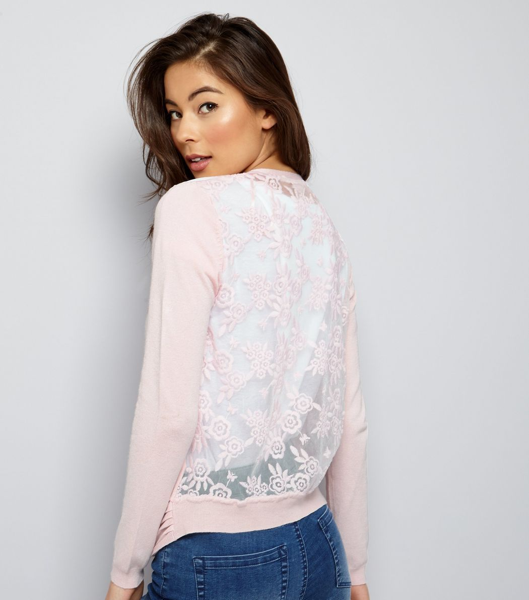 Shell Pink Lace Back Cardigan | New Look | Cardigans For Men ...