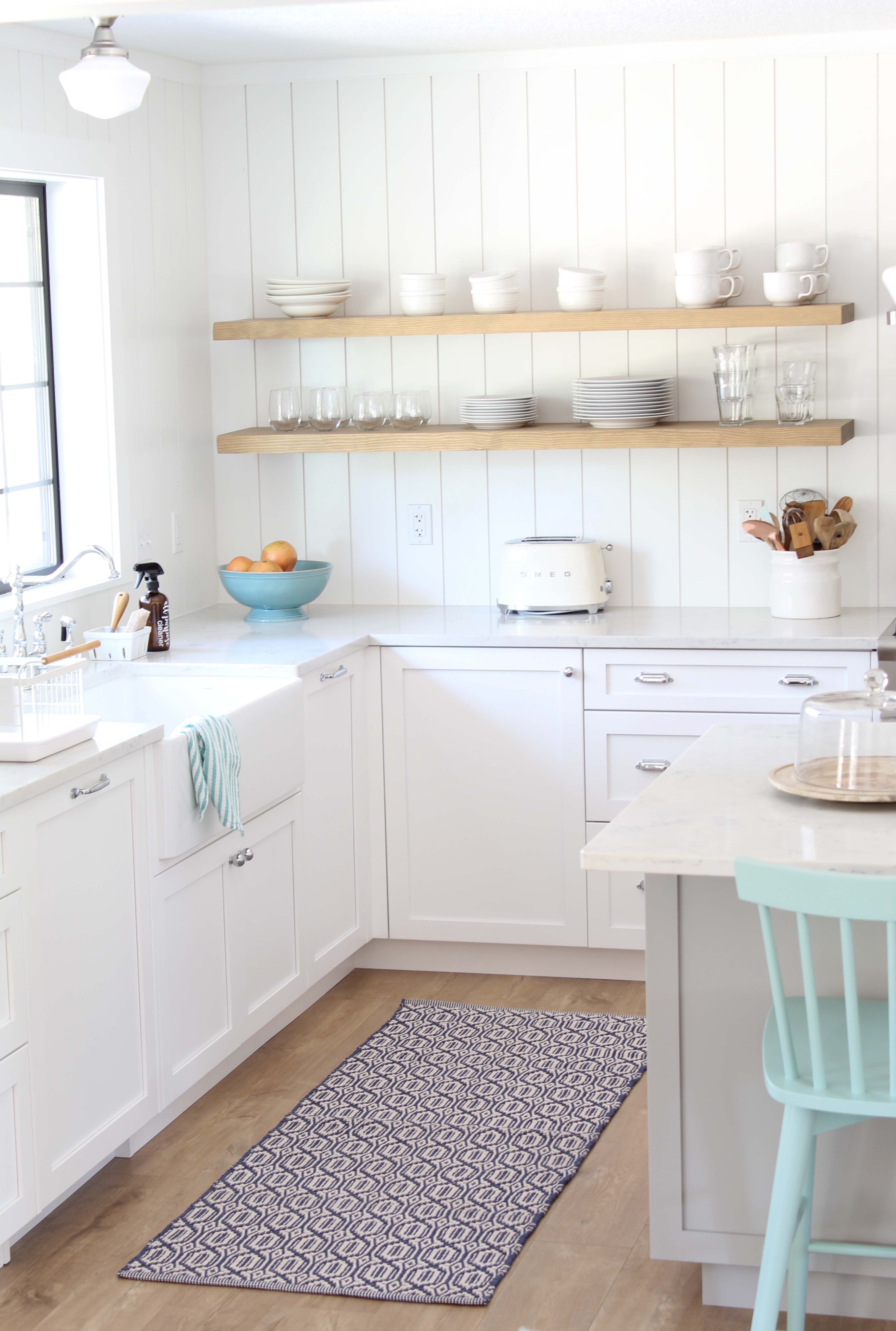 Scandinavian Farmhouse Kitchen Reveal A Nod To Navy In 2020 Shiplap Kitchen Kitchen Remodel Scandinavian Kitchen