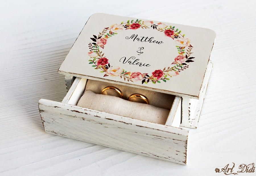 Personalized Box wedding ring holder Wedding Ring Holder Pillow Bearer Box Watercolor wreath wedding boho Ring Bearer Box Wedding Ring Box