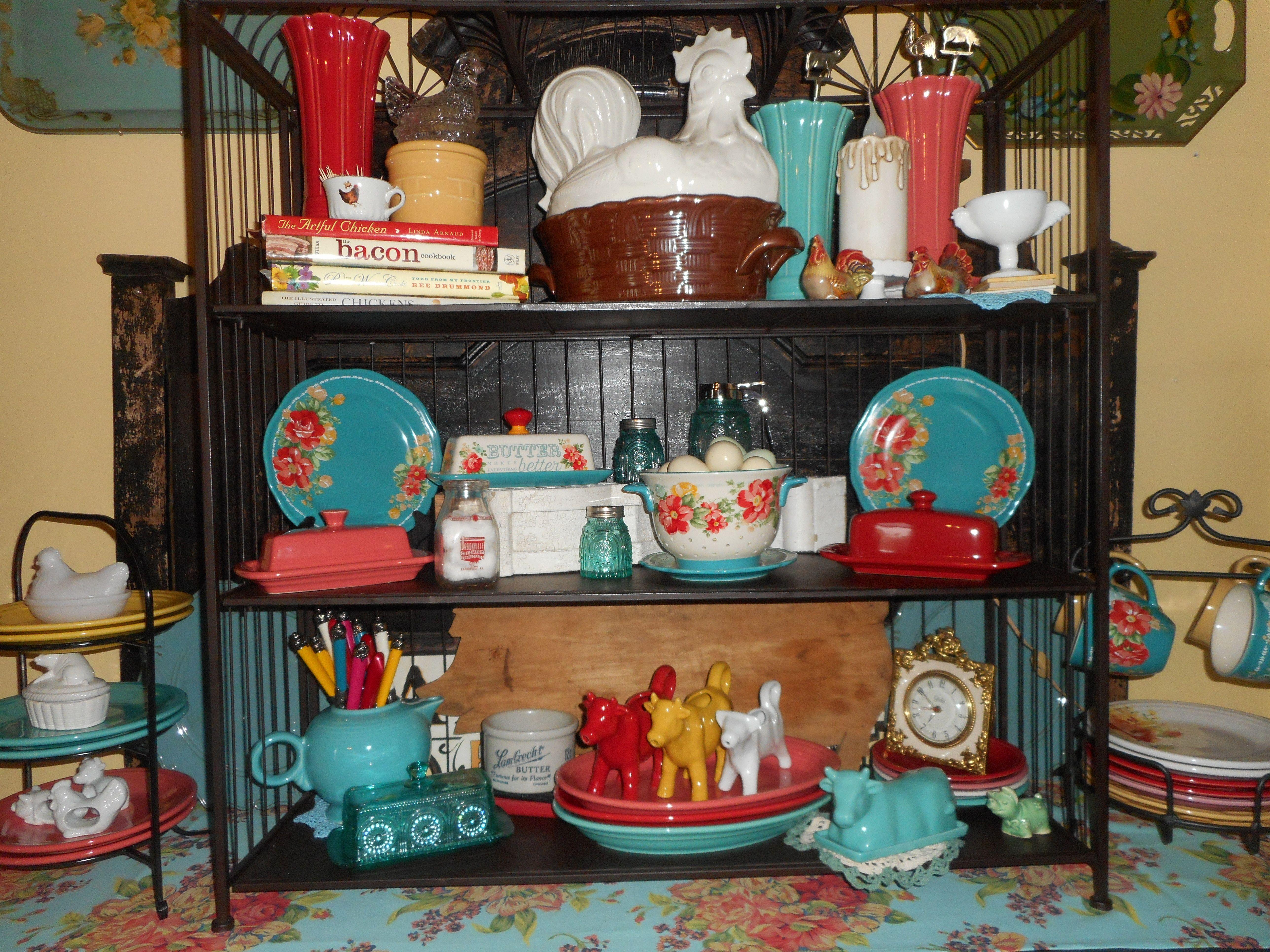 Birdcage Shelves Filled With Fiesta Pioneer Woman And Longaberger Pioneer Woman Dinnerware Pioneer Woman Kitchen Pioneer Woman Kitchen Decor