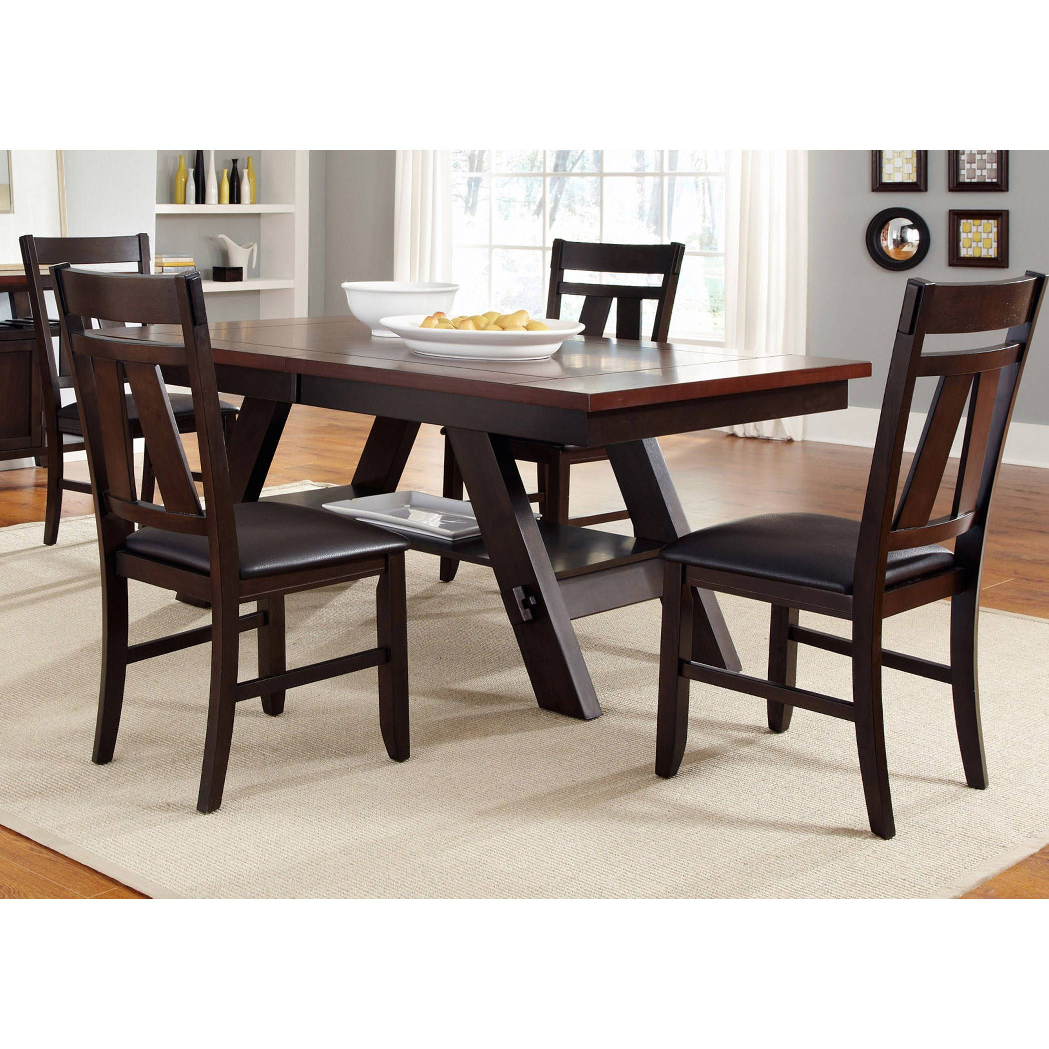 Liberty Expresso Twotone Transitional 5Piece Dinette Set Fascinating Two Toned Dining Room Sets 2018